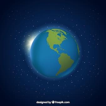 Escuro - fundo azul com globo da terra