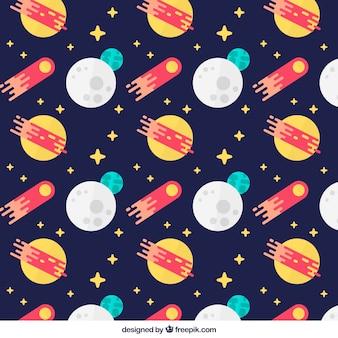 Escuro - padrão azul com luas e meteoritos