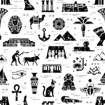 Escuro padrão sem emenda de símbolos, pontos de referência e sinais do egito