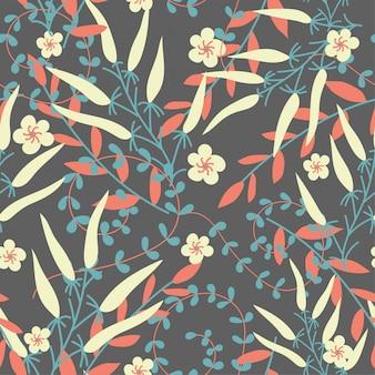 Escuro, seamless, padrão, com, folhas, ramos, e, flores