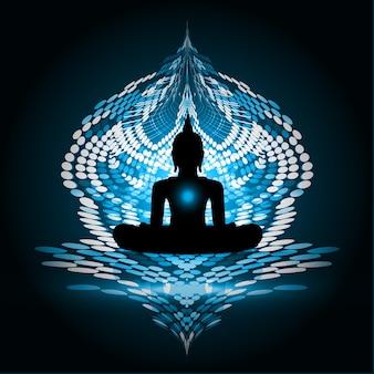 Escuro - silhueta azul de buddha contra o fundo. ioga