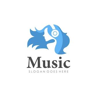 Escuta música design do logotipo feminino