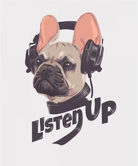 Escutar slogan com cachorro e fone de ouvido