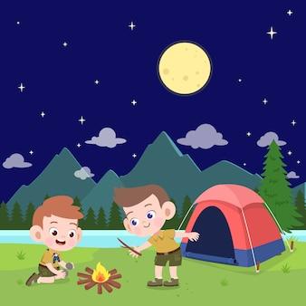 Escuteiros de crianças na ilustração de acampamento