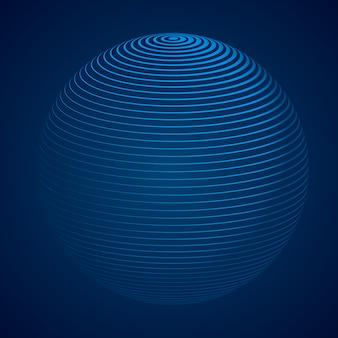 Esfera 3d abstrata com listras, linhas. ilustração vetorial
