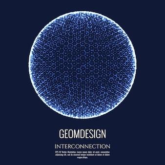 Esfera 3d consiste em malha e ponto. projeto de conceito de conexão. interconexão e comunicação do globo