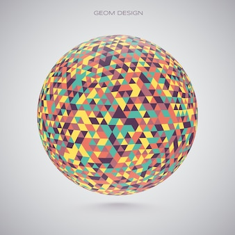 Esfera 3d feita de manchas coloridas. ilustração vetorial.