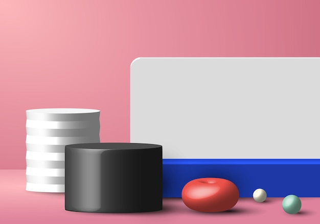 Esfera 3d geométrica colorida realista, decoração de quarto de estúdio de cilindro, vitrine de parede branca e fundo rosa.