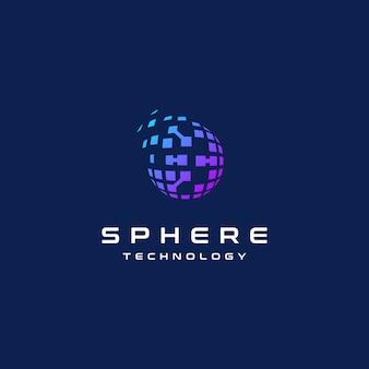 Esfera 3d globo alta tecnologia rede digital logotipo design inspiração