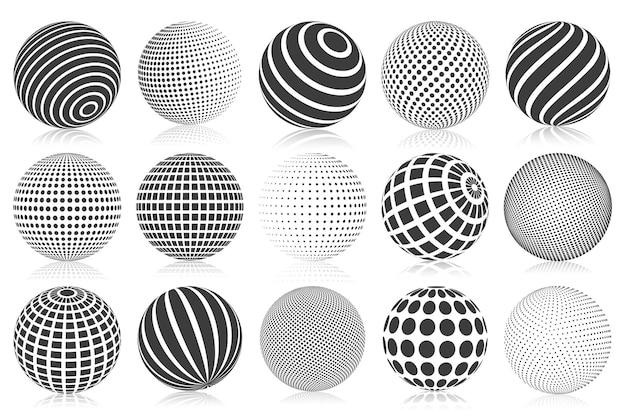 Esfera 3d pontilhada de meio-tom. esferas 3d listradas, pontilhadas e quadriculadas, esferas abstratas