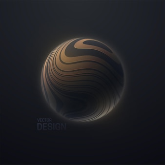 Esfera 3d preta texturizada com padrão listrado ondulado