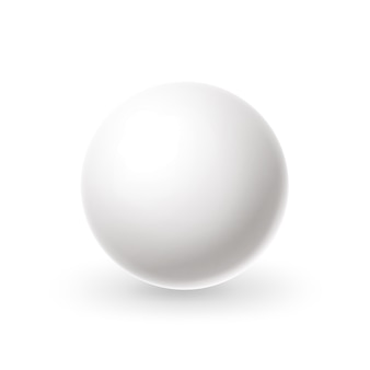 Esfera branca realista círculo branco em branco com reflexos bola de bilhar snooker, bola de bilhar