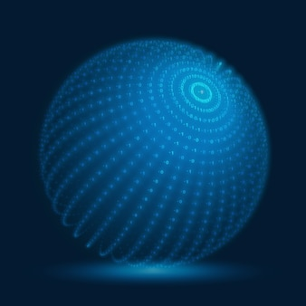 Esfera cibernética de vetor. esfera de big data azul com strings de números binários. representação da estrutura do código de informação. análise criptográfica. transferência de blockchain de bitcoin.
