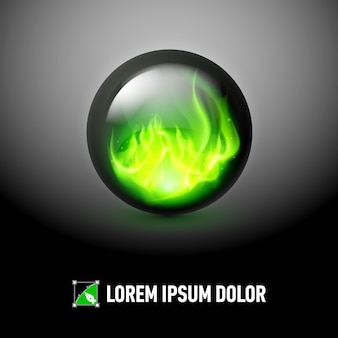 Esfera com chamas de fogo