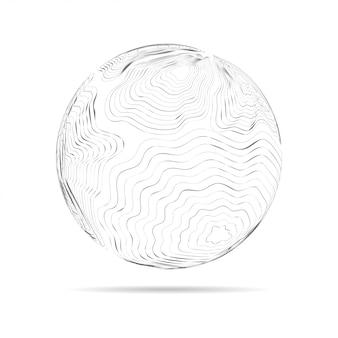 Esfera com linhas conectadas. wireframe digital de rede global