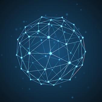 Esfera com linhas e pontos de conexão. fundo 3d geométrico para apresentação de negócios ou ciência.