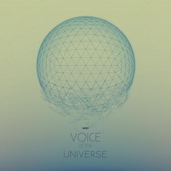 Esfera de espaço azul quebrando. fundo abstrato do vetor com pequenas estrelas. brilho do sol vindo do fundo. geometria do espaço abstrato. brilhos de estrelas alienígenas no pano de fundo. desintegração da esfera cibernética.