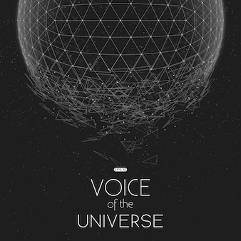 Esfera de espaço em escala de cinza com falha