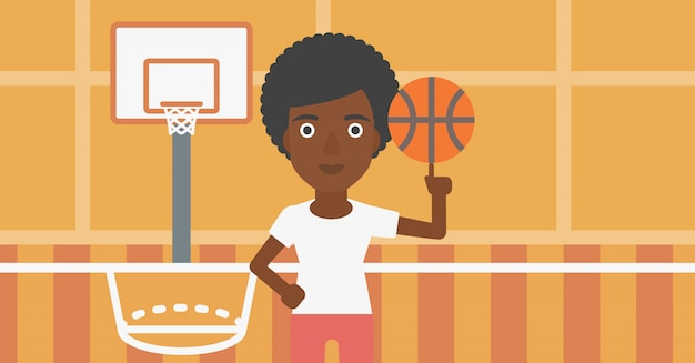 Esfera de giro do jogador de basquete.