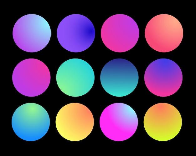 Esfera de gradiente holográfica arredondada. gradientes de círculo de fluido multicolor verde roxo amarelo laranja rosa ciano, botões redondos macios coloridos ou conjunto plano de esferas de cores vivas. ilustração vetorial 10 eps.