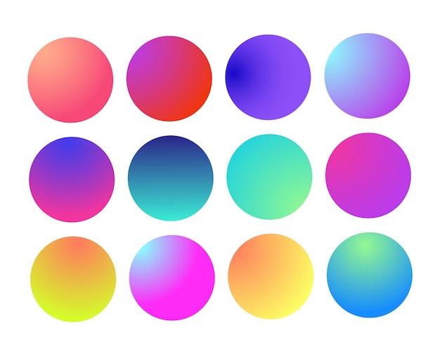 Esfera de gradiente holográfico arredondado multicolor verde roxo amarelo laranja rosa ciano fluido círculo gra ...