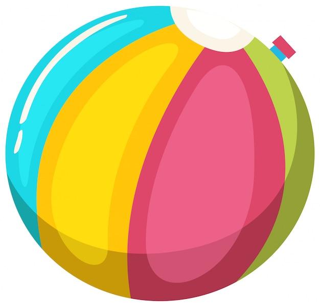 Esfera de praia colorida no fundo branco