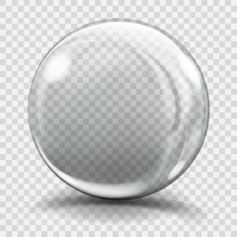Esfera de vidro cinza grande com brilhos e sombras. transparência apenas em arquivo vetorial