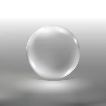 Esfera de vidro de vetor realista bola 3d brilhante transparente com reflexos globo bonito com destaques