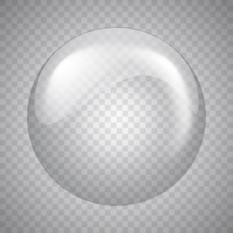 Esfera de vidro em fundo transparente. bolha. ilustração.