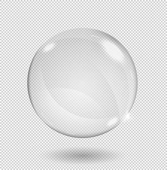Esfera de vidro transparente branco grande com brilhos e destaques. transparência apenas no formato.