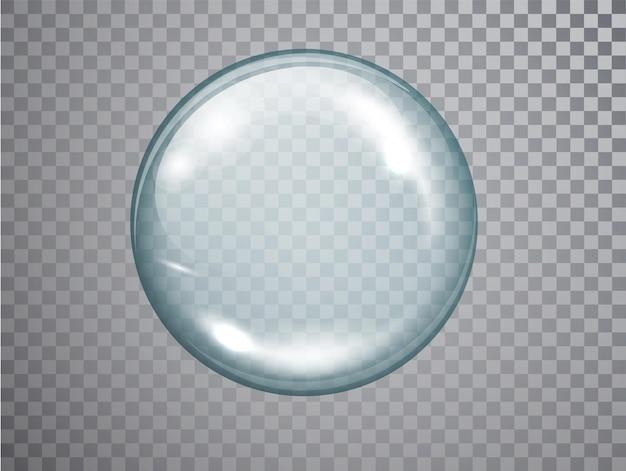 Esfera de vidro transparente com reflexos e sombra. bola esférica de vidro 3d realista isolada.