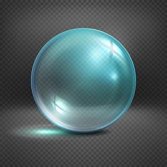 Esfera de vidro transparente isolada na ilustração quadriculado do fundo. bola brilhante claro