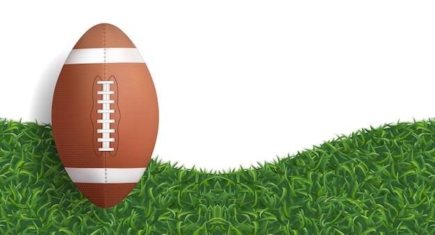 Esfera do futebol americano na grama verde.