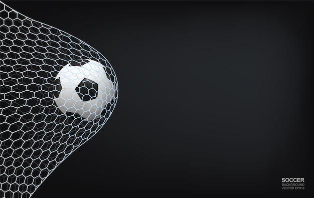 Esfera do futebol do futebol e rede do futebol no fundo preto.