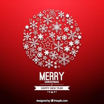 Esfera do natal feita dos flocos de neve cartão