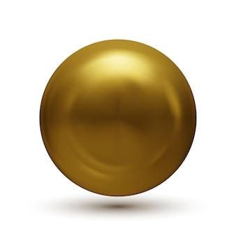 Esfera dourada com sombra isolada no branco