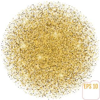 Esfera dourada em branco. esfera de glitter dourados.