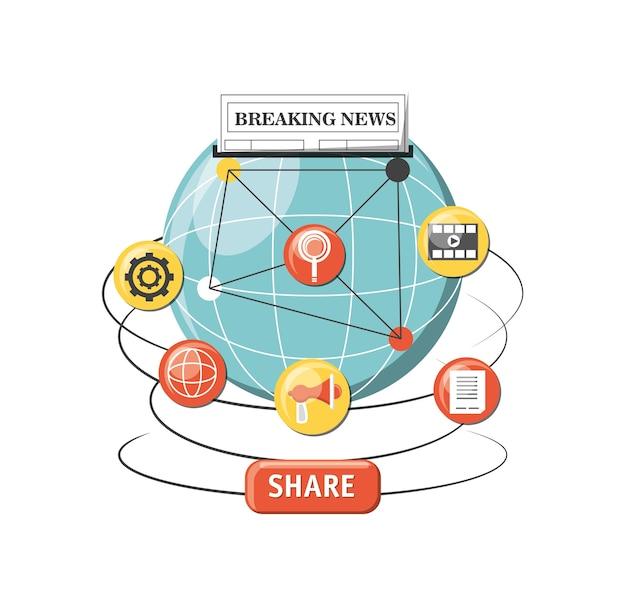 Esfera global com ícones relacionados ao conteúdo viral