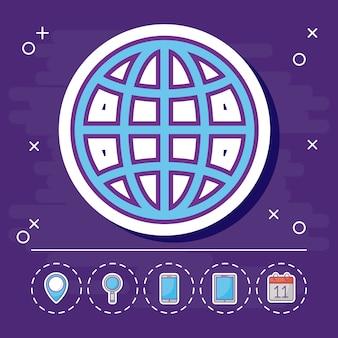 Esfera global e marketing on-line ícones relacionados
