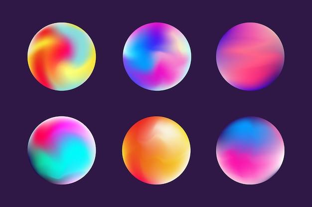 Esfera gradiente colorida em estilo moderno definir a forma fluida do modelo para web de modelo de banner