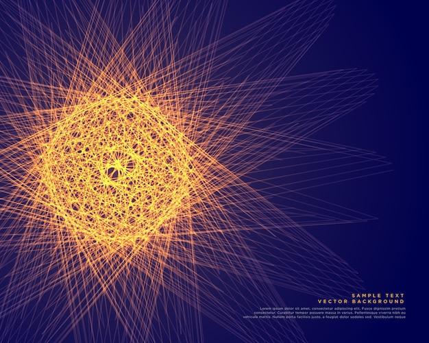 Esfera incandescente abstrata feita com linhas de fundo