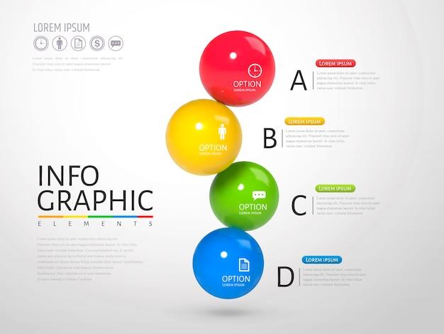 Esfera infográfico, bolas de textura brilhante de textura plástica com cores diferentes na ilustração