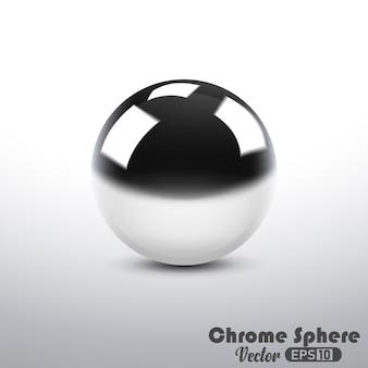 Esfera metálica reflexiva de cromo