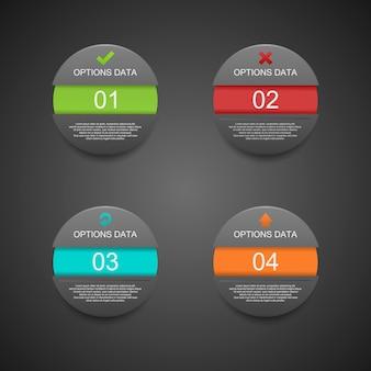 Esfera moderna infográficos preto estilo origam.
