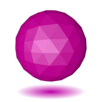 Esfera poligonal baixa rosa abstrata feita de faces triangulares com sombra no fundo branco