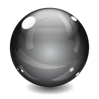Esfera preta brilhante com sombra