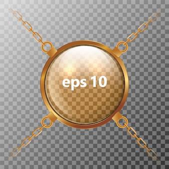Esfera transparente de vidro que pendura em correntes douradas.