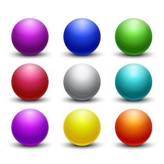 Esferas 3d brilhantes, brilhantes coloridas, esferas ajustadas. ícones de globo cor orb, redondo figura decorativa