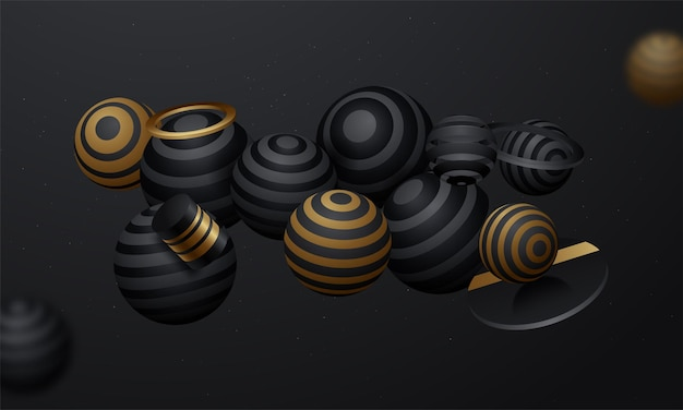 Esferas 3d pretas no fundo do espaço