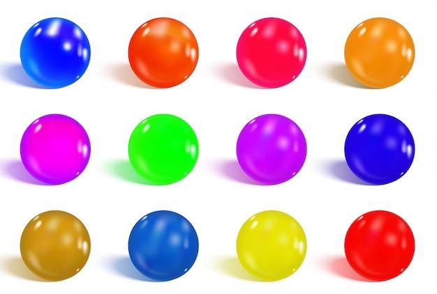 Esferas brilhantes coloridas